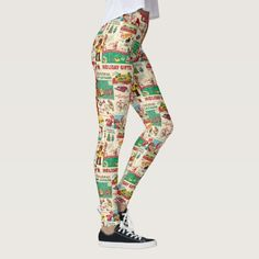 Vintage Toy Catalog Leggings - These pages ripped straight from a vintage toy catalog will be a fun part of your Christmastime attire.  Great as part of any Christmas-season outfit, or for wear antytime during the winter season.  #Santas #ToyCatalog #Dolls #Trucks #Toys #StuffedAnimals #Christmas #Leggings #Legs #Cute #Sexy #SantaClaus #Fun #Festive