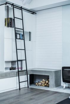 fireplace and bookcase by Dizaino Virtuve//