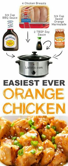 Easy Crockpot Orange Chicken with just 4 easy ingredients. Set it and forget it recipe you and your whole family will love. See all 12 Mind-Blowing Ways To Cook Meat In Your Slow cooker on Listotic Crock Pot Food, Crockpot Dishes, Crock Pot Slow Cooker, Easy Crockpot Recipes, Crock Pot Healthy, Crockpot Kids Meals, Crockpot Dinner Easy, Chicken Crock Pot Meals, Meals With Chicken