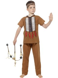 Mr Bens Fancy Dress Costumes Native Indian Warrior Costume : Native American Inspired Warrior Costume, Brown, with Trousers, Top & Headpiece Jessie Fancy Dress, Mexican Fancy Dress, Wild West Fancy Dress, Boys Fancy Dress, Nativity Costumes, Boy Costumes, Halloween Costumes For Kids, Halloween Dress, Indian Boy