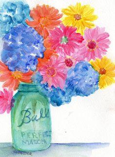 Gerbera Daisies and Hydrangeas in Aqua Ball by SharonFosterArt, $25.00