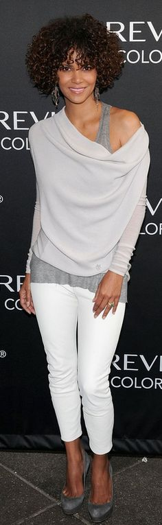 Who made Halle Berry's gray top, white skinny pants, and gray suede platform pumps that she wore to a Revlon event in New York on May 22, 2012?
