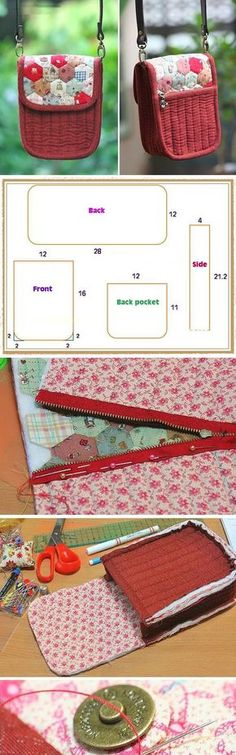 Patchwork and Quilted Purse zipper DIY. ~ How to sew free tutorial for beginners. Ideas for sewing projects. Step by step illustration. Sewing Basics, Sewing Hacks, Sewing Tutorials, Sewing Projects, Sewing Patterns, Bag Tutorials, Sewing Ideas, Patchwork Bags, Quilted Bag