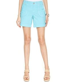 International Concepts Plus Size Twill Cuffed Utility Shorts 22w Blue