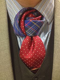 Stripes and spots + an unorthodox shape = one interesting necktie knot.
