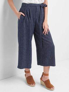 Linen stripe tie-belt culottes