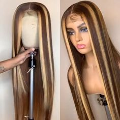 Thriving Hair Custom Virgin Human Hair Lace Front Wigs Straight Brown With Blonde Highlights in Fron Brown With Blonde Highlights, Hair Highlights, Weave Hairstyles, Straight Hairstyles, Teen Hairstyles, Casual Hairstyles, Medium Hairstyles, Latest Hairstyles, Hairstyles Videos