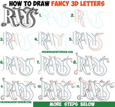 How to Draw 3D Fancy Curvy Letters Easy Step by Step Drawing Tutorial for Kids & Beginners