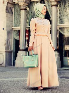 Dantel Detaylı Elbise 28 - Somon - Minel Aşk