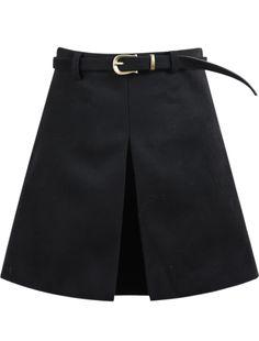 Falda de lana plisada A Line-negro