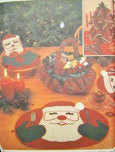 Christmas Place Mats, Santa Claus Place Mat, Simplicity Crafts Pattern 7024…