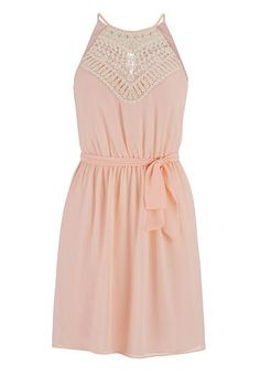 crochet top keyhole back chiffon dress (original price, $44) available at #Maurices