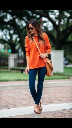 Orange sweater, skinnies and leopard ballet flats. Stitch Fix Fall fashion