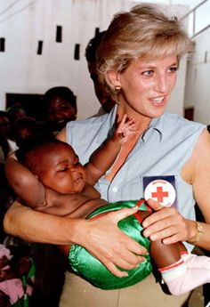 PRINCESS DIANA: HUMANITARIAN  Diana spoke of the personal connections she made with every individual, young and old, whom she visited during her globetrotting days. In this image, she does her best to comfort a baby at a Red Cross Health Center in Luanda. The Diana, Princess of Wales Memorial Fund has donated millions of dollars to sub-Saharan countries since 2001 to help fight the AIDS epidemic.