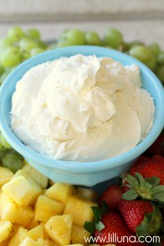 Fruit Dip recipe on { lilluna.com } Pretty sure I'd be using real rum in this:)