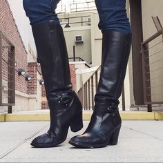VIA SPIGA Black Tall Boots Via Spiga Black Tall Boots. -100% Leather. -Size 8.5 -In good condition.  NOTE: Heels have some wear, and there are some white scuffs in front of boot. (See pictures)  NO Trades. Please make all offers through offer button. Via Spiga Shoes Heeled Boots