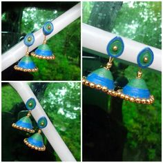 Blue  Quilled  jhumka