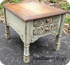 Check out the paint and stains she uses  http://sunflowerhugs.blogspot.com/2013/05/assembly-line-of-tables.html