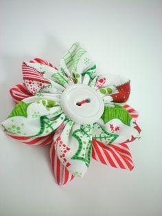 Christmas hair clip, girls hair accessory, holiday hair clip, girls hair accessory, handmade flower clip