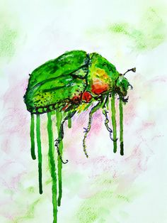 Beautiful dripping Rose chafer (Cetonia aurata) on this original mixed media painting.  Painted with White Nightwatercolour paints and Sennelier soft pastels .The painting is on 200gsm watercolor paper. It comes without mount and measures 8,5 x 11,5 inch  It will be carefully packed in a clear cellophane sleeve, board backed. Please note colours in real life may vary from your monitor.  Dont forget to check out my other paintings :)  Copyright remains with artist.  Thanks for looking…