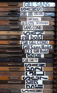 Wooden type faces