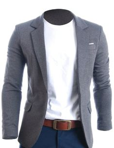 Mens Slim Fit Casual Premium Blazer Jacket - looks so wonderful with blue jeans and crisp white t-shirt!