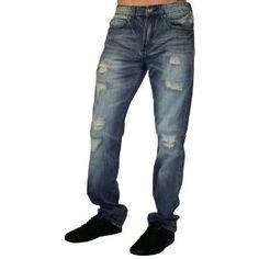 Click on the image for more details! - CAVI Regular Straight Fit 5 Pocket Denim Distressed Mens Jeans (Apparel)