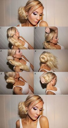 This is a simple guide that will take you from one step to another to help you make a sock bun. You should know how to make a sock bun is great because it works with most outfits that you wear. Work Hairstyles, Celebrity Hairstyles, Trendy Hairstyles, Sock Bun Hairstyles, Wedding Hairstyles, Updo Hairstyle, Medium Hair Styles, Curly Hair Styles, Locks
