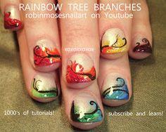 rainbow trees on short nails nail art! http://www.youtube.com/watch?v=q7wINqT56Pw