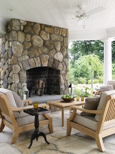 Outside fireplace ~ home built by Country Club Homes, Inc., Wilton, CT.