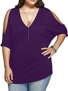 20a26936980aa Allegrace Women Plus Size V Neck Short Sleeve Batwing Top Cold Shoulder T  Shirt 3X Black at Amazon Women s Clothing store