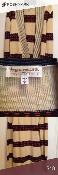 Francesca's cardigan tan, orange, and navy blue Francesca's Collections Sweaters Cardigans