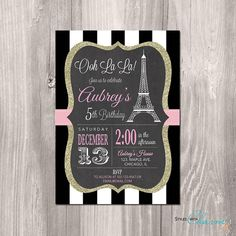 Option 12:  Paris Birthday Invitation - Printable Paris Invitation - Paris Invitation - Eiffel Tower Invitation - oh la la - French theme party