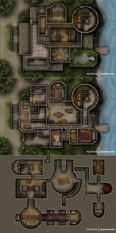 Adventurers Seaside Keep coastal Multi-Level grid battlemap OC lg xlg (saved) Fantasy City, Fantasy Map, Dark Fantasy, Building Map, Building Games, Dnd World Map, Cartographers Guild, Pathfinder Maps, Tabletop Rpg