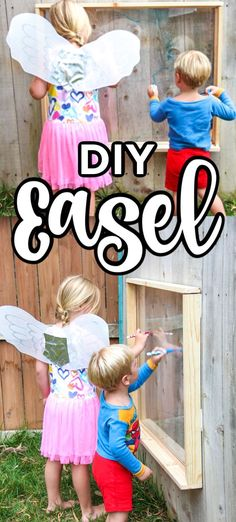 Youngsters Area Home Furnishings Diy Easel. Step by step instructions to Make An Outdoor Easel. Diy Easel For Painting Party. Outdoor Fun For Kids, Backyard For Kids, Backyard Projects, Outdoor Projects, Diy For Kids, Party Outdoor, Backyard Ideas, Diy Easel, Easy Diy Costumes