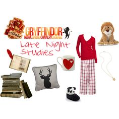Gryffindor - Late Night Studies by lumos394 on Polyvore featuring Tommy Hilfiger, SO, Old Navy, gryffindor, harry potter and red
