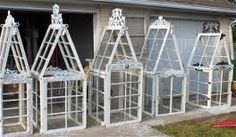how to make miniature greenhouse from old windows - Google Search