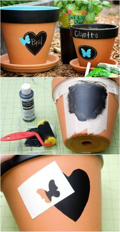 Easy DIY painted terra cotta pots are eye-catching outside, can be pretty enough for inside, & you can easily swap & re-label the plants within. *Bonus tip: For large planters that you will need to move from season to season, slip a sturdy, wheeled saucer base underneath it before you plant.: