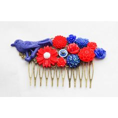 Red White and Blue Hair Comb Fourth of July Hair Clip Bird Hair Clip... ($20) ❤ liked on Polyvore featuring accessories, hair accessories, grey, red flower hair clip, blue hair accessories, blue hair clip, red hair accessories and red flower hair accessories