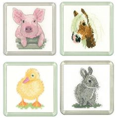 Pig, Pony, Duckling & Rabbit Coaster cross stitch Set