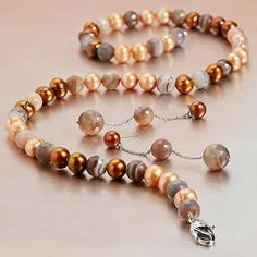 "Honora 7-8MM Chocolate Ringed Freshwater Cultured Pearl 36"" Necklace with Faceted Botswana Mocha Agate Beads & a Sterling Silver Lobster Claw. Style SN9308SCH36"