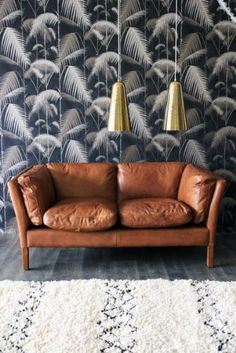 palm leaves wallpaper cole and son. Beautiful Brown Leather Sofa.
