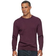 Men's SONOMA Goods for Life™ Coolmax Classic-Fit Crewneck Sweater, Size: Medium, Dark Red