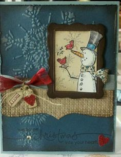 Softly Distressed Embossed Card...with framed snowman & burlap trim.