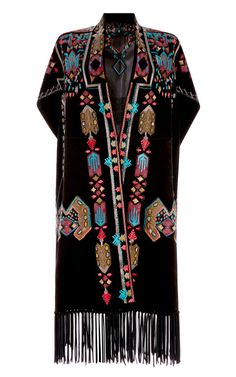 Suede Knee Length Cape With Fringe And Embroidery by Valentino - Moda Operandi