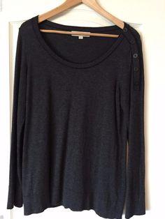 Ann Taylor Loft Gray Sweater with Black Trim & Button Accent Size L #AnnTaylorLOFT #Crewneck