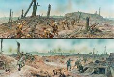 Otra magnífica lámina sobre el Somme, mostrándonos el campo de batalla desde las trincheras alemanas y británicas. Cortesía de de Peter Dennis. Más en www.elgrancapitan.org/foro