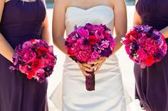 Vibrant purple and pink wedding bouquets by Nancy Liu Chin.