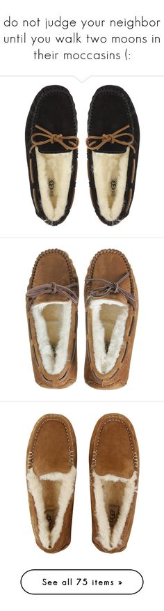 """""""do not judge your neighbor until you walk two moons in their moccasins (:"""" by sammylynn ❤ liked on Polyvore featuring shoes, slippers, flats, uggs, moccasins, women, ballerinas, zapatos, loafers and leather slip-on shoes"""