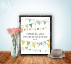 INSTANT DOWNLOAD Bible Verse Printable, Scripture Print wall art decor poster, wedding nursery family inspirational quote - Ruth 1:16. $5.00, via Etsy.